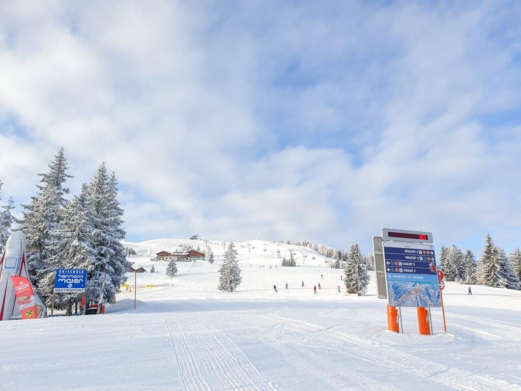 Schneebedeckte Skipisten mit einigen Bäumen