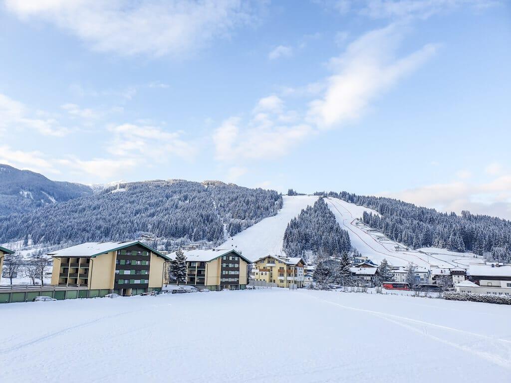Blick über einige Häuser auf die schneebedeckten Berge von Flachau