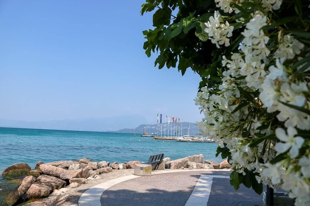 links Bäume an einer Uferpromenade, dahinter der Gardasee mit Blick auf eine Stadt