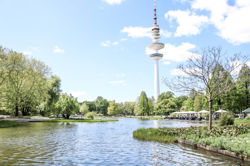 Blick auf einen Fernsehturm über einen See hinweg
