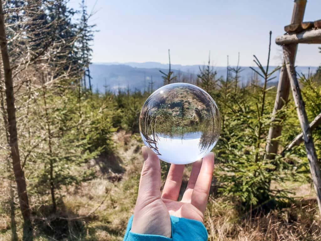 Hand hält Glaskugel in einem Wald, darin spiegelt sich ein Hochsitz und die Bäume