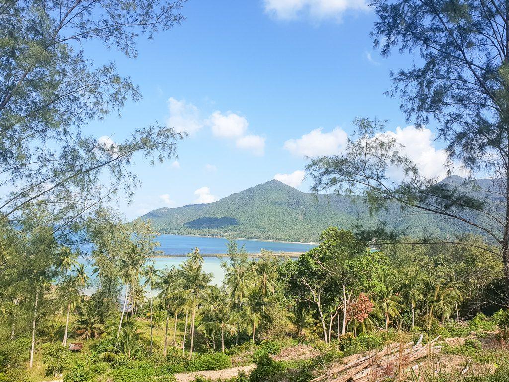 Bäume und Palmen im Vordergrund - dahinter das Meer und eine Hügelkette