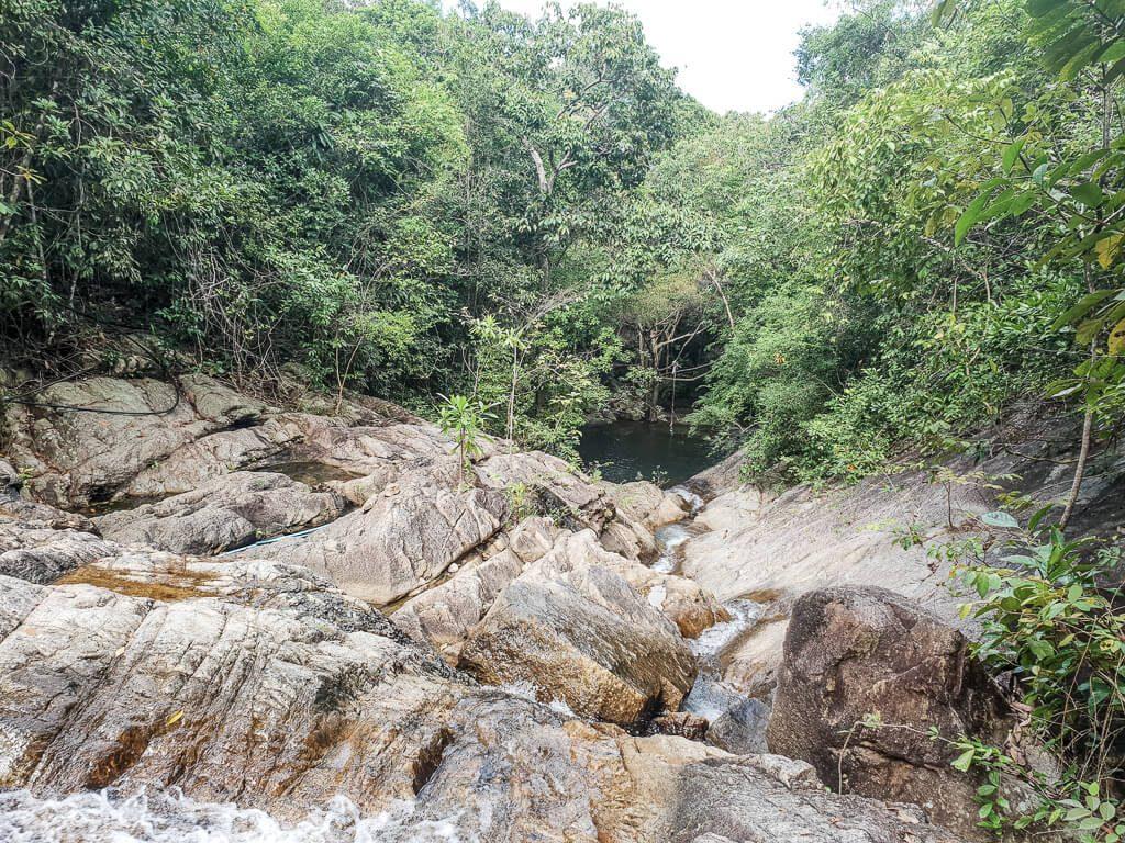 Wasserfall von oben - große Felsen umrandet von Bäumen