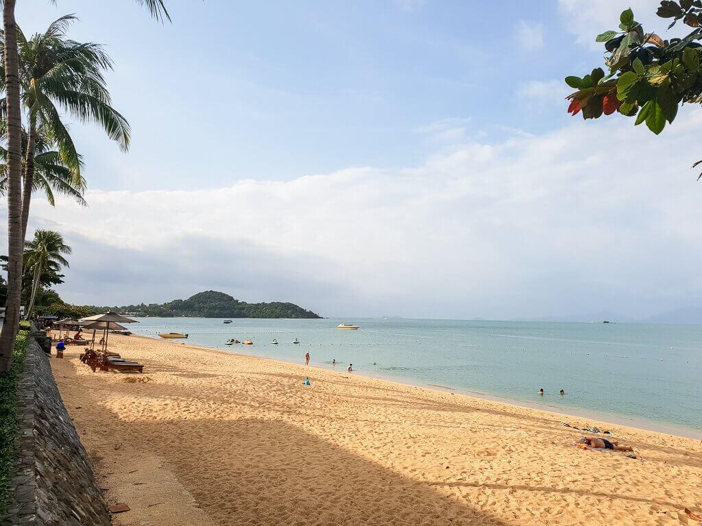 Bophut Strand mit Palmen linksseitig und Meer auf der rechten Seite
