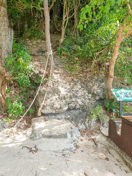 Stufen aus Stein im Wald