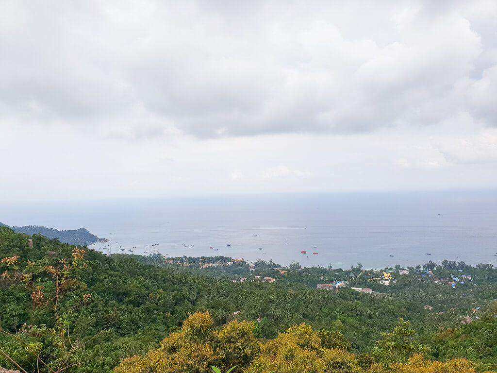 Ausblick über Bäume und Hügel bis zum Meer