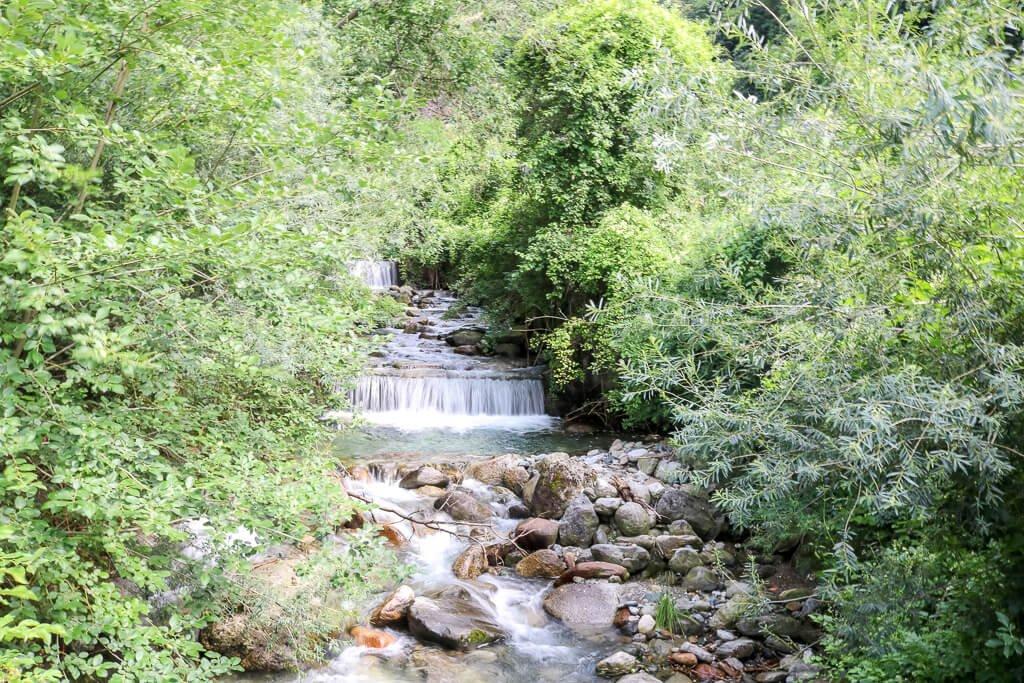 Kleiner Wasserfall mit Steinen im Vordergrund zwischen Bäumen