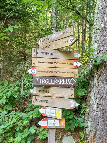 Wegweiser mit mehreren hölzernen Schildern mitten im Wald