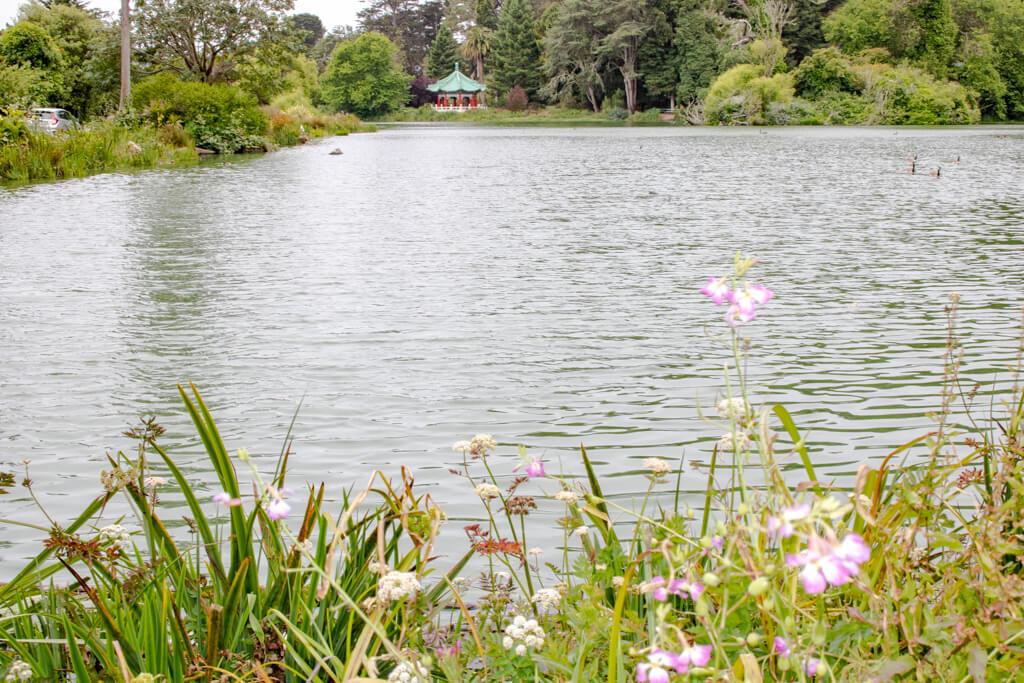 See mit kleiner Pagode am hinteren Ende; im Vordergrund einige Gräser und Blumen