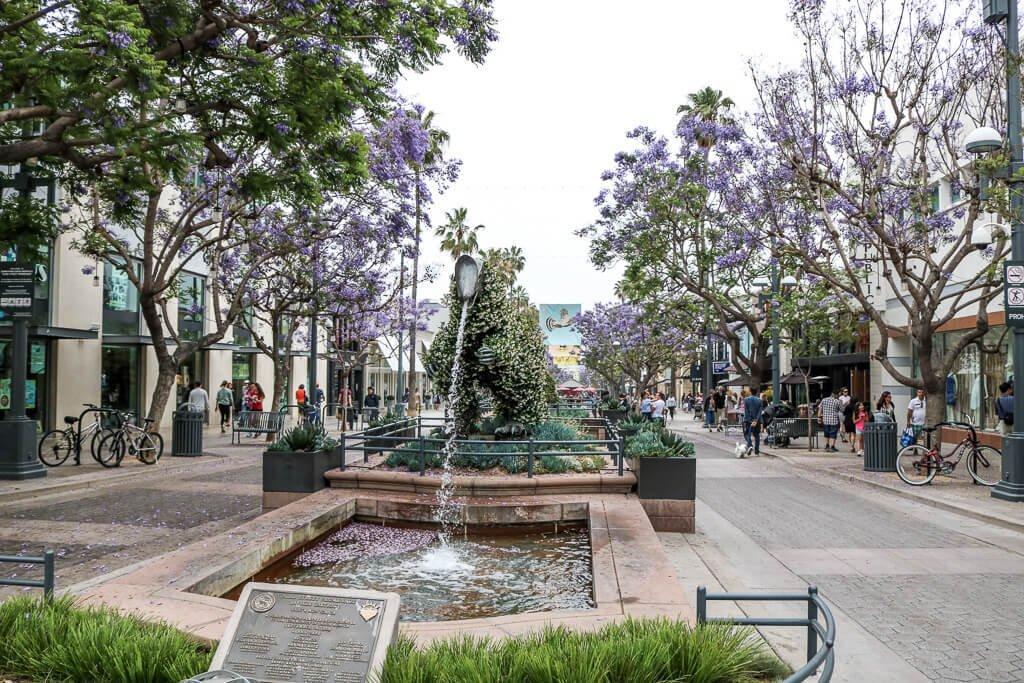 Santa Monica - Downtown - Fußgängerzone - blühende Bäume