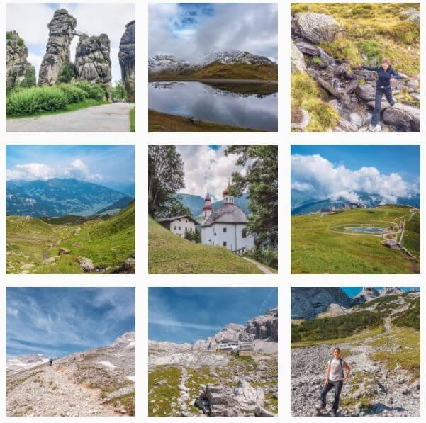 3x3 quadratische Bilder mit verschiedenen Landschaften