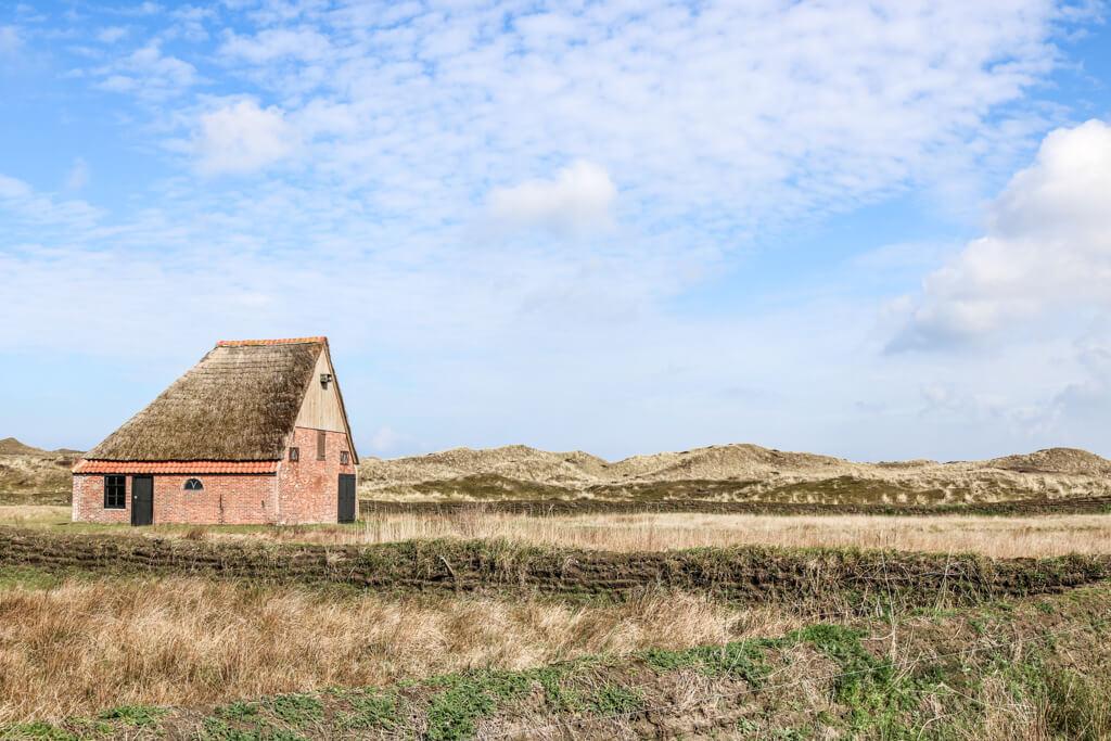 kleines Ziegelhaus mit Reetdach steht in einer grasbewachsenen Dünenlandschaft