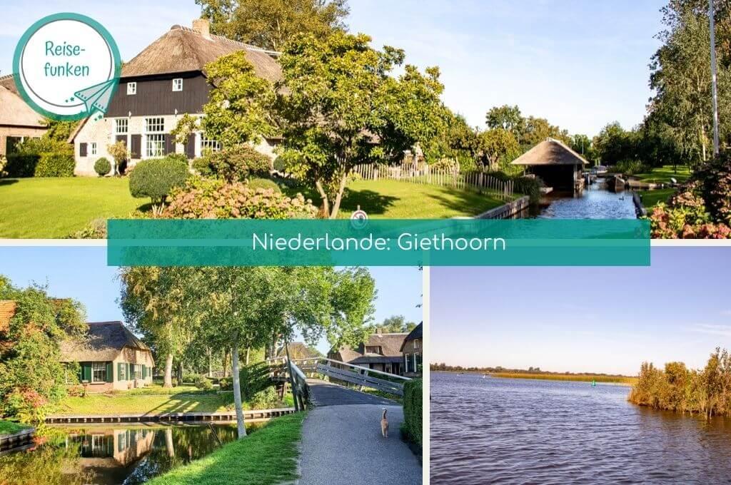 """Dreigeteiltes Bild mit dem Titel """"Giethoorn - Niederlande"""""""