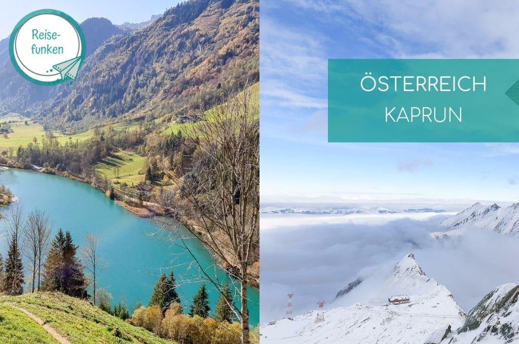 zwei Bilder - ein Bergsee im Grünen - rechts schneebedeckte Berge