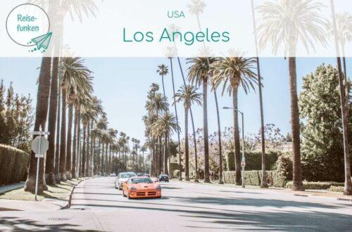 Bild mit Text: USA - Los Angeles, darunter Bild von rotem Sportwagen auf breiter Straße, mit Palmen gesäumt