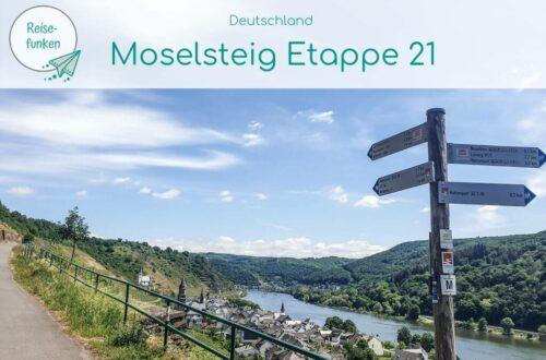 """Titelbild mit Text """"Moselsteig Etappe 21""""; Bild: Wegweiser an einem Wanderweg mit Blick auf die Mosel"""