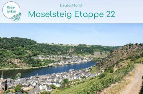 """Titelbild mit Text """"Moselsteig Etappe 22""""; Bild zeigt einen Wanderweg oberhalb der Mosel mit Blick über den Fluss und einen kleinen Ort"""