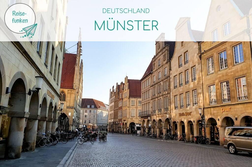 Titelbild Münster; Prinzipalmarkt im Abendlicht