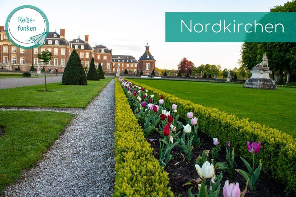 Tulpen blühen vor dem Schloss Nordkirchen