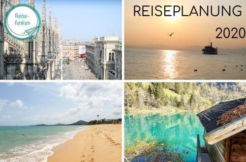 Collage aus vier Bildern mit unterschiedlichen Reisezielen