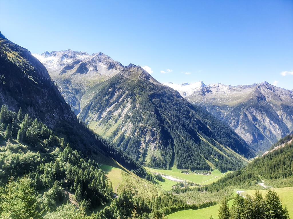 Tal mit grünen Wiesen umgeben von Bewaldeten Berggipfeln