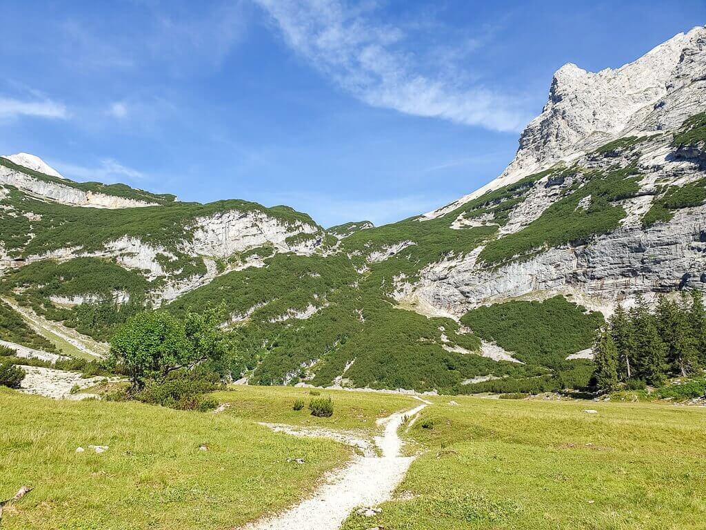 Wanderweg inmitten von grünen Wiesen, dahinter Berge